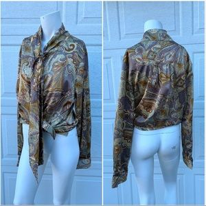 Vintage Silky Paisley Button-Up Blouse w Neck Tie